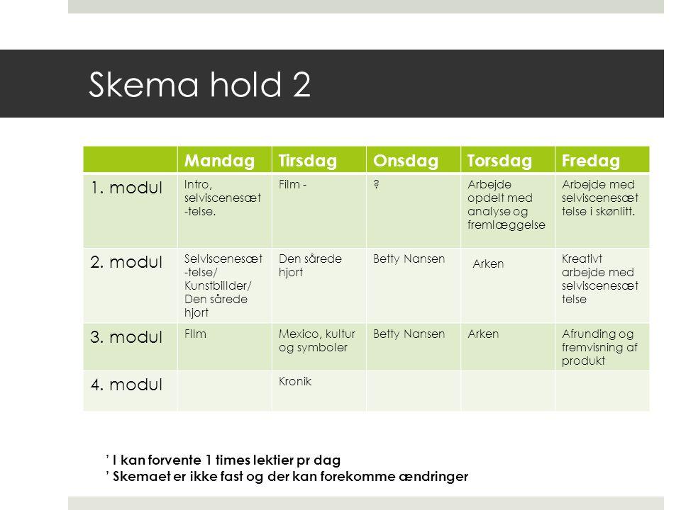 Skema hold 2 Mandag Tirsdag Onsdag Torsdag Fredag 1. modul 2. modul