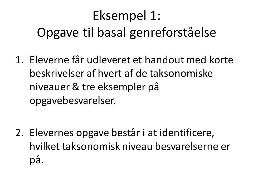 Eksempel 1: Opgave til basal genreforståelse