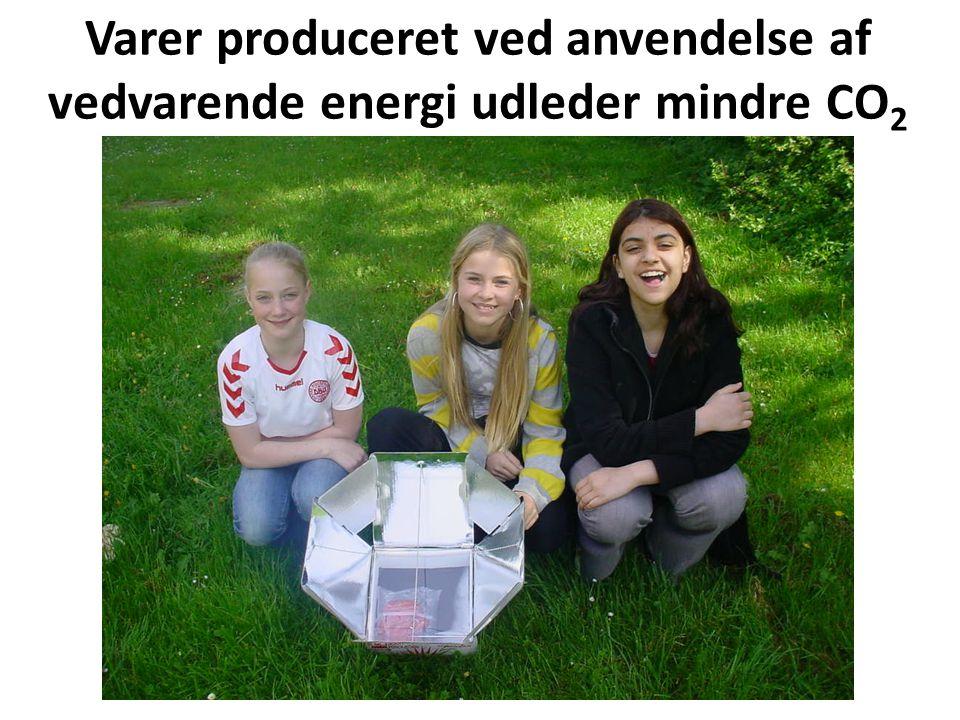 Varer produceret ved anvendelse af vedvarende energi udleder mindre CO2