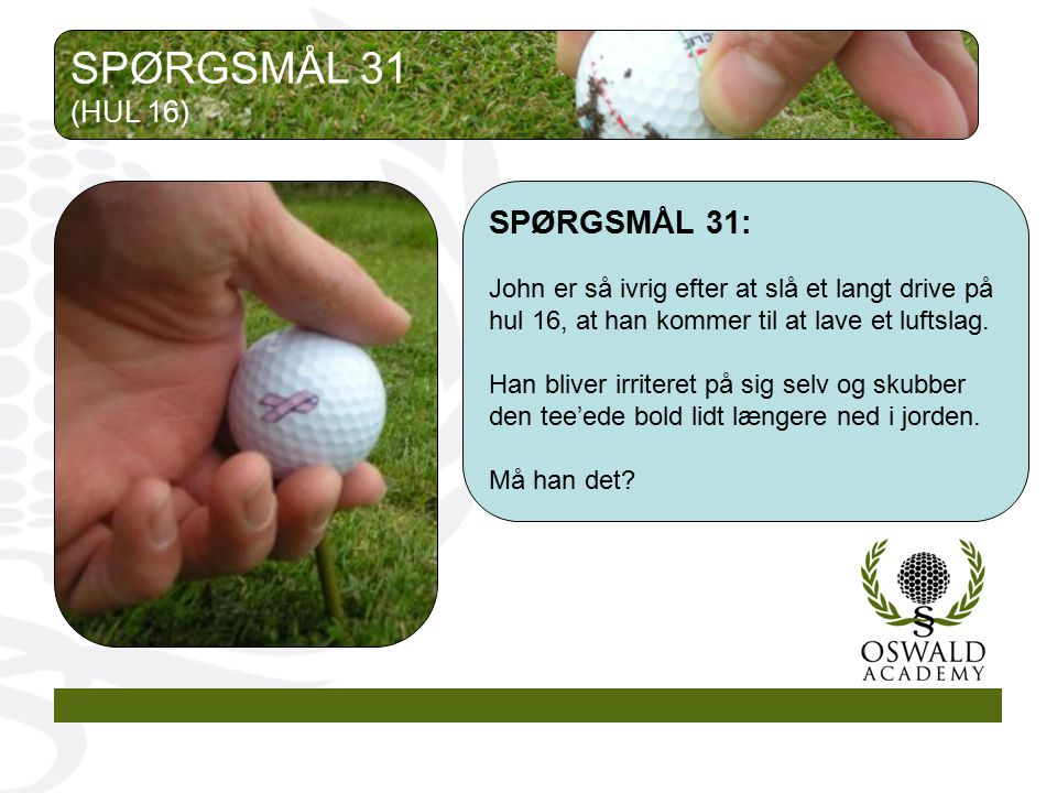 SPØRGSMÅL 31 SPØRGSMÅL 31: (HUL 16)