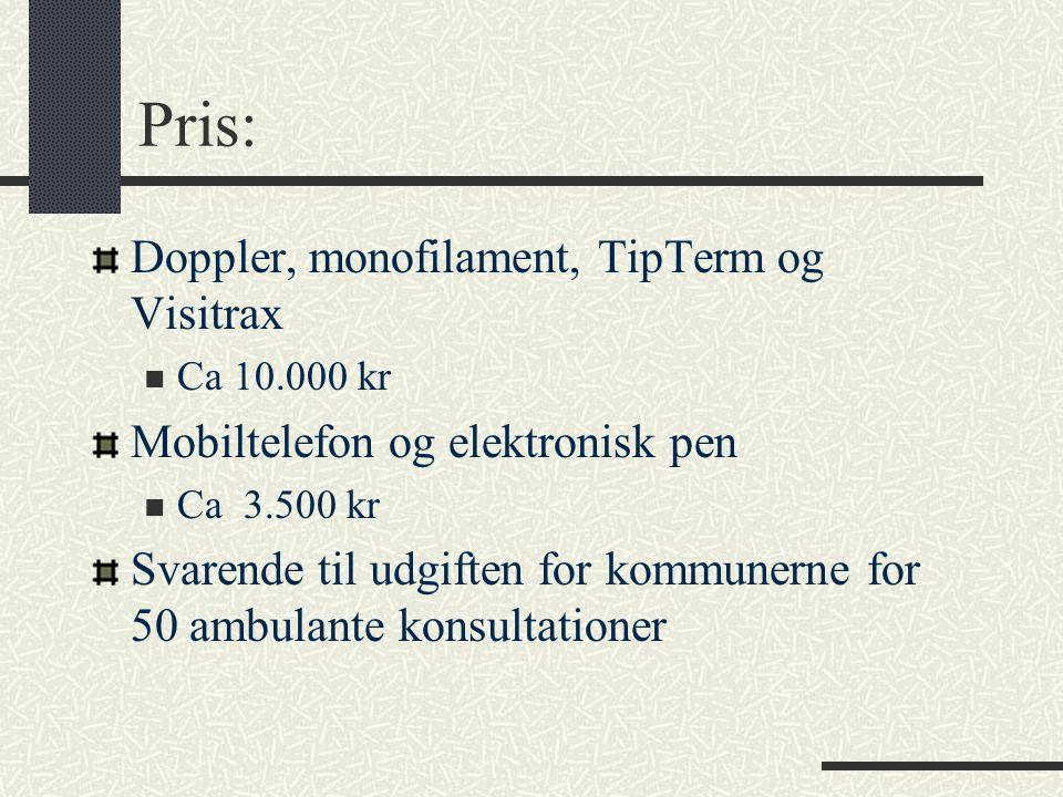 Pris: Doppler, monofilament, TipTerm og Visitrax