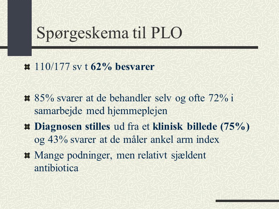 Spørgeskema til PLO 110/177 sv t 62% besvarer