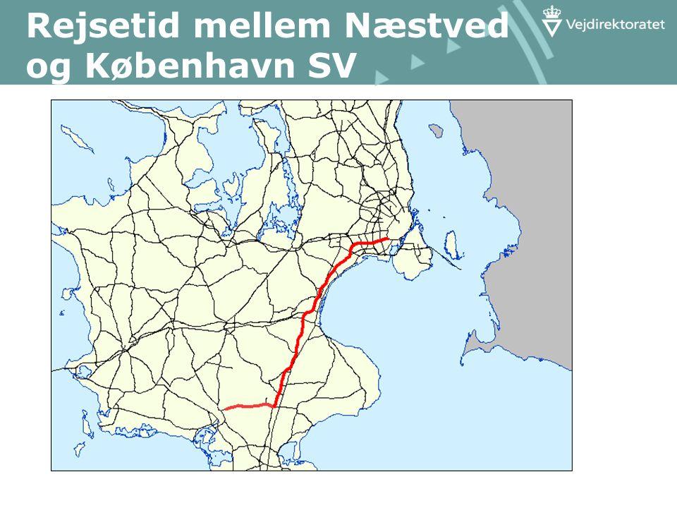 Rejsetid mellem Næstved og København SV