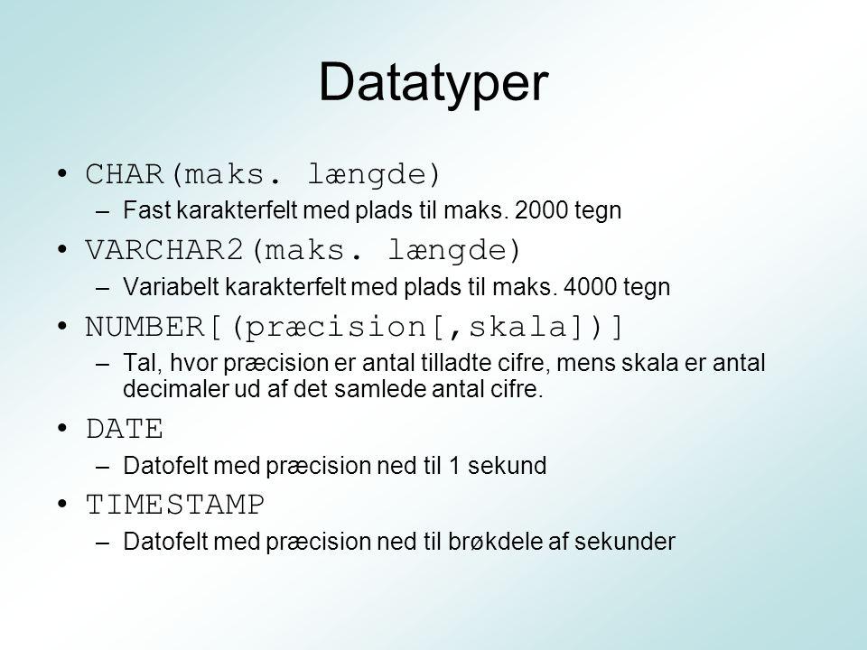 Datatyper CHAR(maks. længde) VARCHAR2(maks. længde)