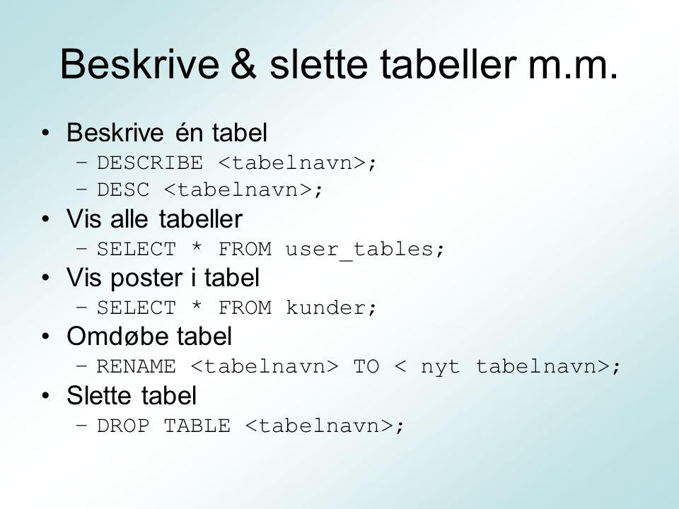 Beskrive & slette tabeller m.m.
