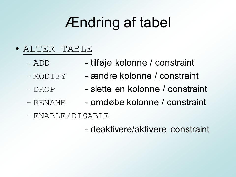 Ændring af tabel ALTER TABLE ADD - tilføje kolonne / constraint