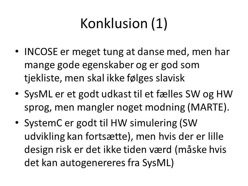 Konklusion (1) INCOSE er meget tung at danse med, men har mange gode egenskaber og er god som tjekliste, men skal ikke følges slavisk.