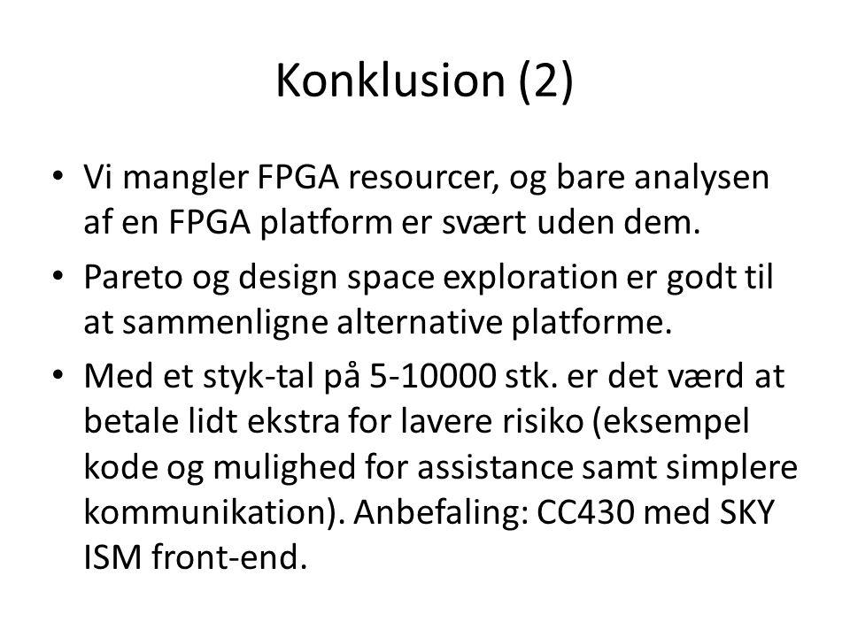 Konklusion (2) Vi mangler FPGA resourcer, og bare analysen af en FPGA platform er svært uden dem.