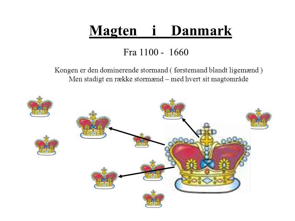 Magten i Danmark Fra 1100 - 1660. Kongen er den dominerende stormand ( førstemand blandt ligemænd )