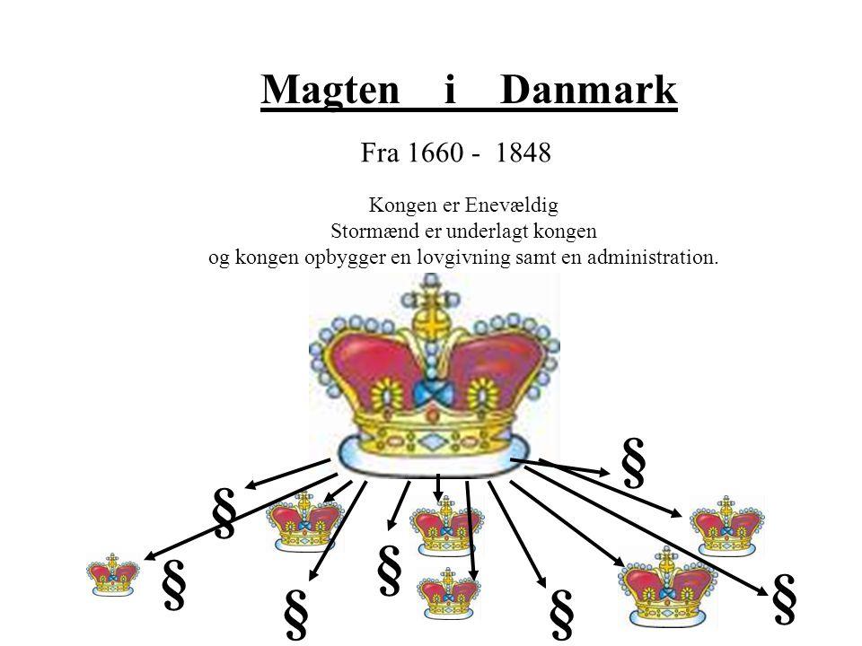 § § § § § § § Magten i Danmark Fra 1660 - 1848 Kongen er Enevældig