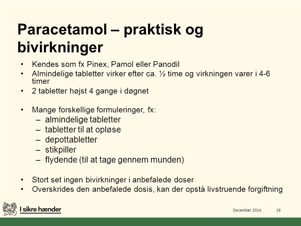 Paracetamol – praktisk og bivirkninger
