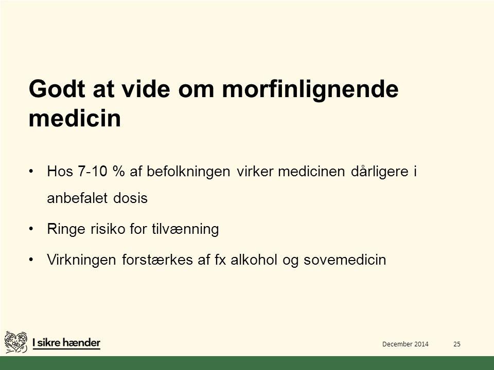 Godt at vide om morfinlignende medicin