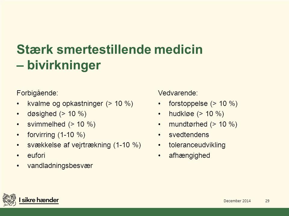 Stærk smertestillende medicin – bivirkninger