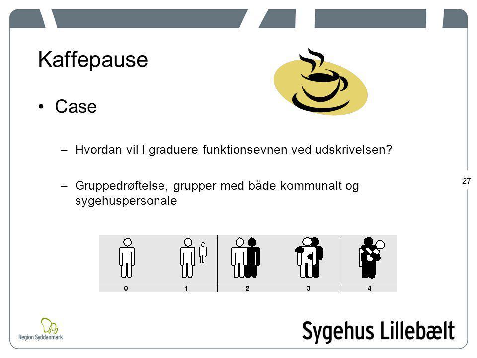 Kaffepause Case. Hvordan vil I graduere funktionsevnen ved udskrivelsen.