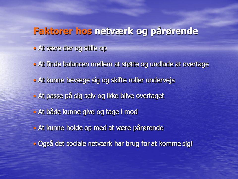 Faktorer hos netværk og pårørende