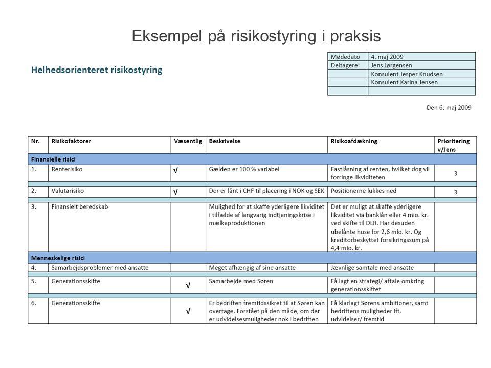 Eksempel på risikostyring i praksis