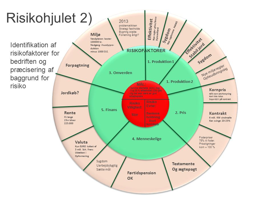 Risikohjulet 2) Identifikation af risikofaktorer for bedriften og
