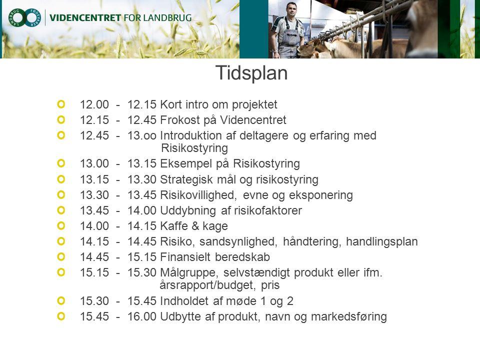 Tidsplan 12.00 - 12.15 Kort intro om projektet