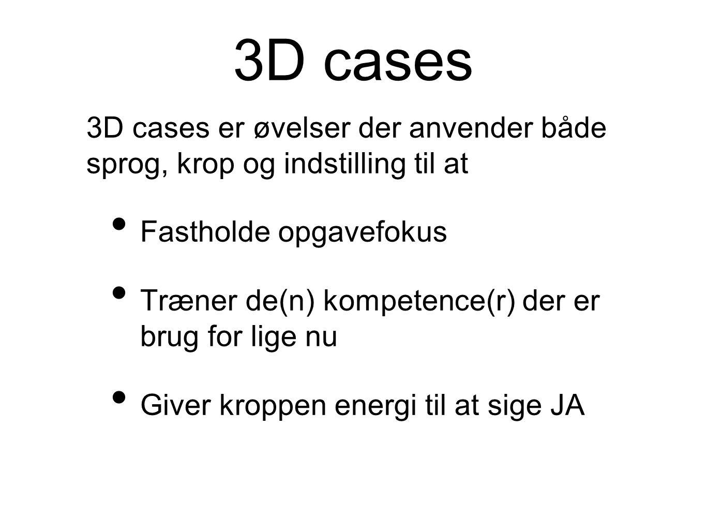 3D cases 3D cases er øvelser der anvender både sprog, krop og indstilling til at. Fastholde opgavefokus.