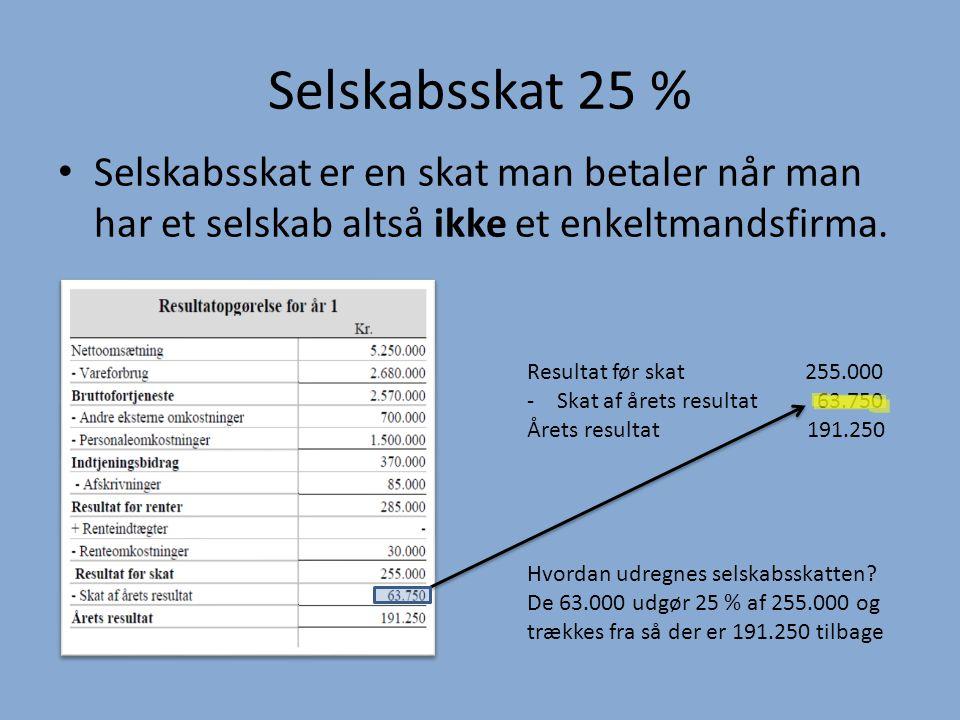 Selskabsskat 25 % Selskabsskat er en skat man betaler når man har et selskab altså ikke et enkeltmandsfirma.