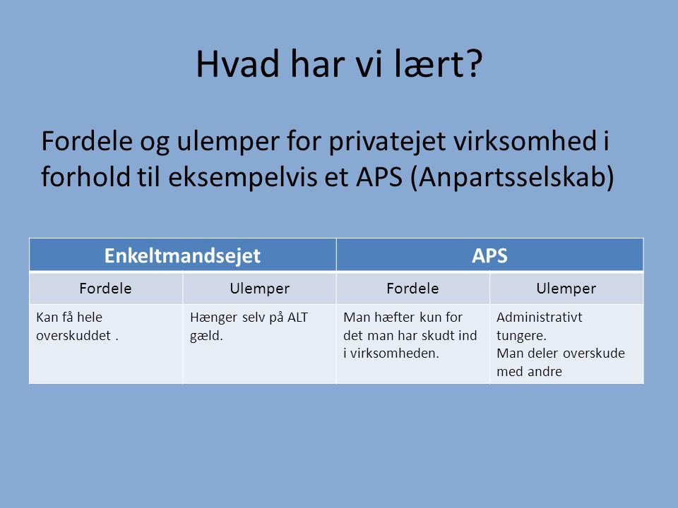 Resultatopgørelse og balance for et APS (anpartsselskab) - ppt video online download