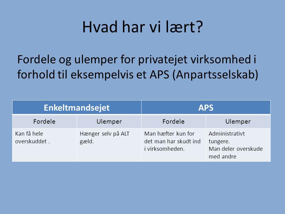Hvad har vi lært Fordele og ulemper for privatejet virksomhed i forhold til eksempelvis et APS (Anpartsselskab)