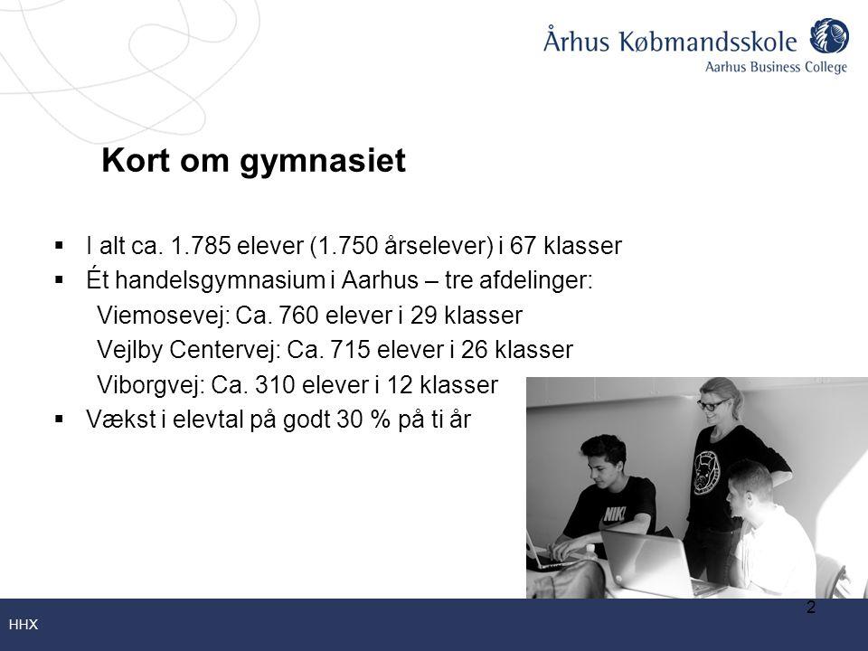Kort om gymnasiet I alt ca. 1.785 elever (1.750 årselever) i 67 klasser. Ét handelsgymnasium i Aarhus – tre afdelinger: