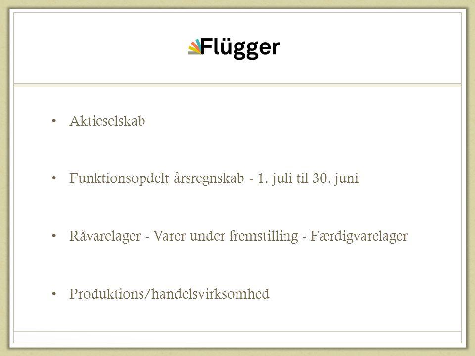 Flügger Aktieselskab. Funktionsopdelt årsregnskab - 1. juli til 30. juni. Råvarelager - Varer under fremstilling - Færdigvarelager.