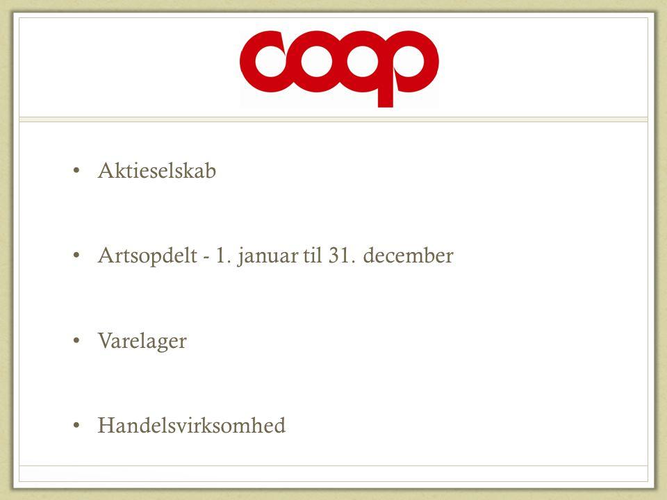 COOP Aktieselskab Artsopdelt - 1. januar til 31. december Varelager
