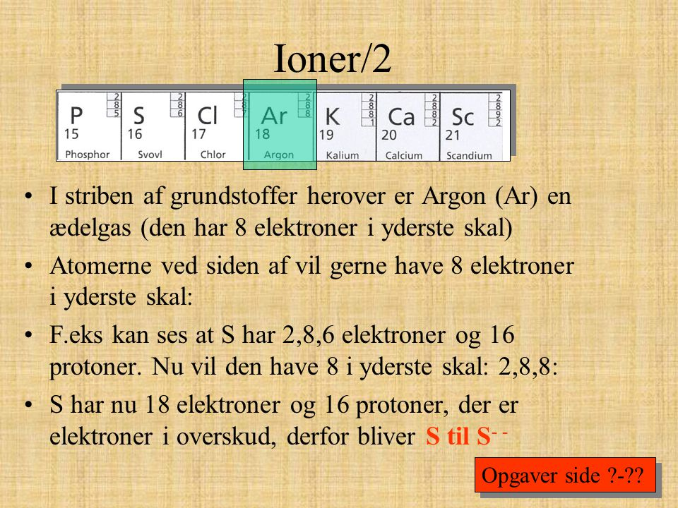 Ioner/2 I striben af grundstoffer herover er Argon (Ar) en ædelgas (den har 8 elektroner i yderste skal)