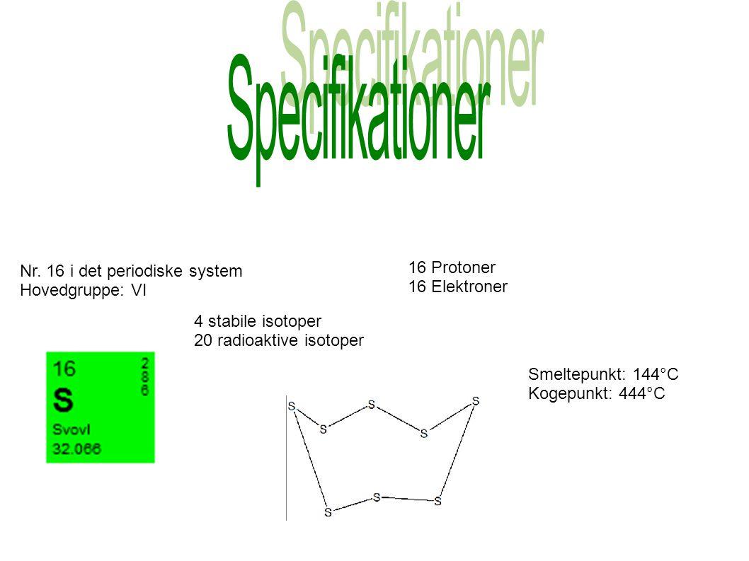 Specifikationer Nr. 16 i det periodiske system Hovedgruppe: VI