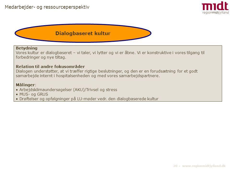Dialogbaseret kultur Medarbejder- og ressourceperspektiv Betydning