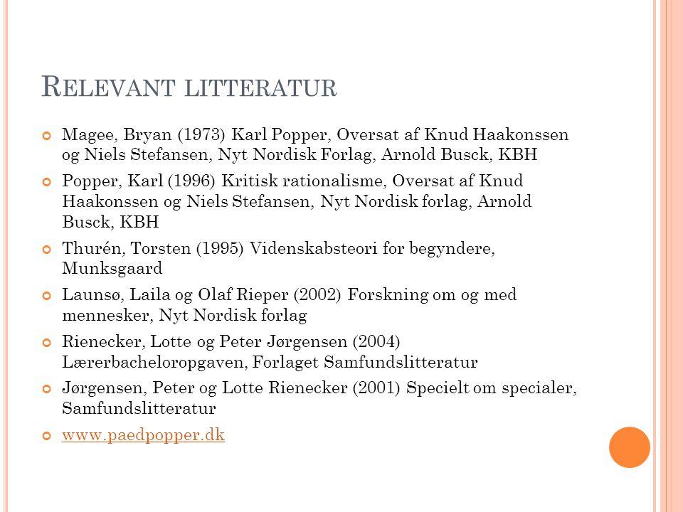 Relevant litteratur Magee, Bryan (1973) Karl Popper, Oversat af Knud Haakonssen og Niels Stefansen, Nyt Nordisk Forlag, Arnold Busck, KBH.