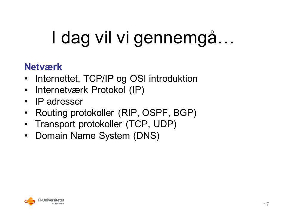 I dag vil vi gennemgå… Netværk Internettet, TCP/IP og OSI introduktion