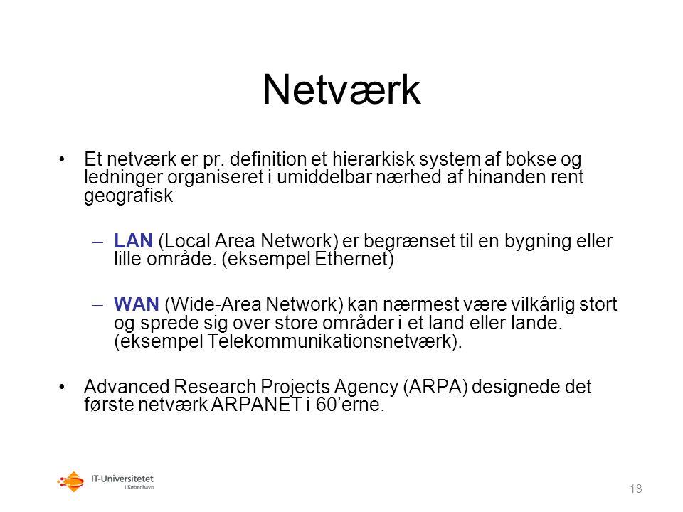 Netværk Et netværk er pr. definition et hierarkisk system af bokse og ledninger organiseret i umiddelbar nærhed af hinanden rent geografisk.