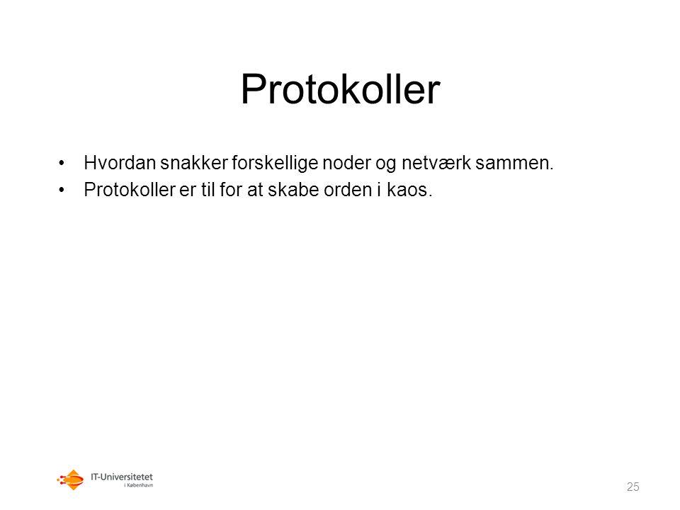 Protokoller Hvordan snakker forskellige noder og netværk sammen.
