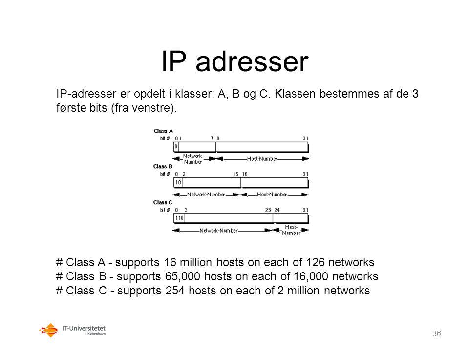 IP adresser IP-adresser er opdelt i klasser: A, B og C. Klassen bestemmes af de 3 første bits (fra venstre).
