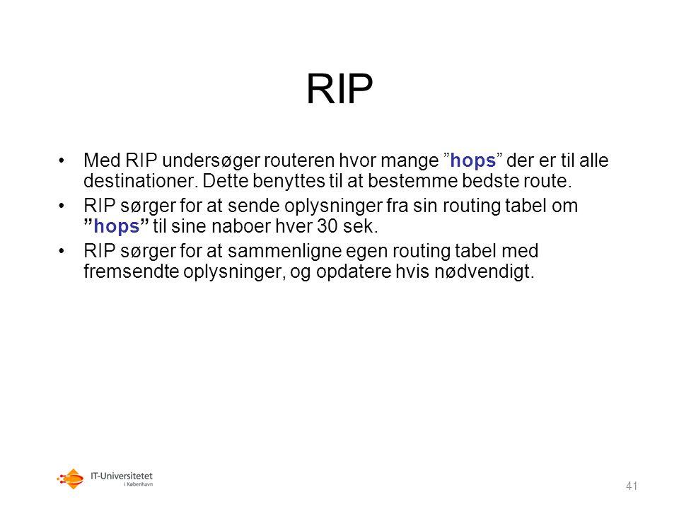 RIP Med RIP undersøger routeren hvor mange hops der er til alle destinationer. Dette benyttes til at bestemme bedste route.
