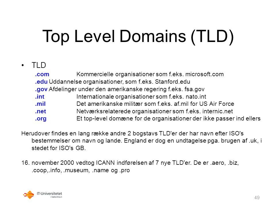 Top Level Domains (TLD)