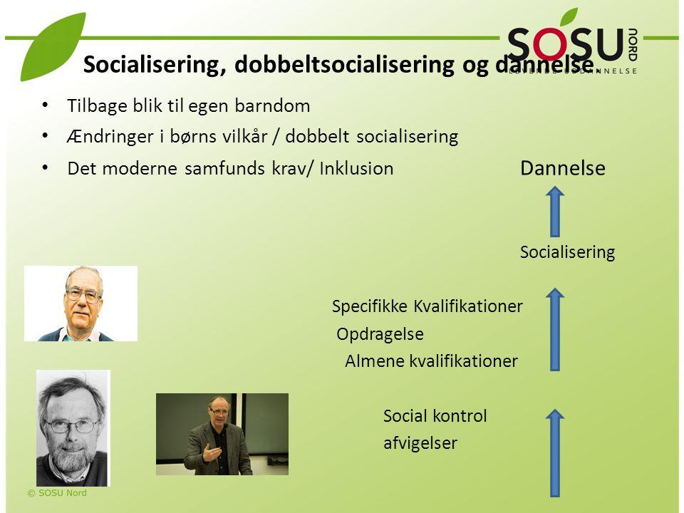 Socialisering, dobbeltsocialisering og dannelse.