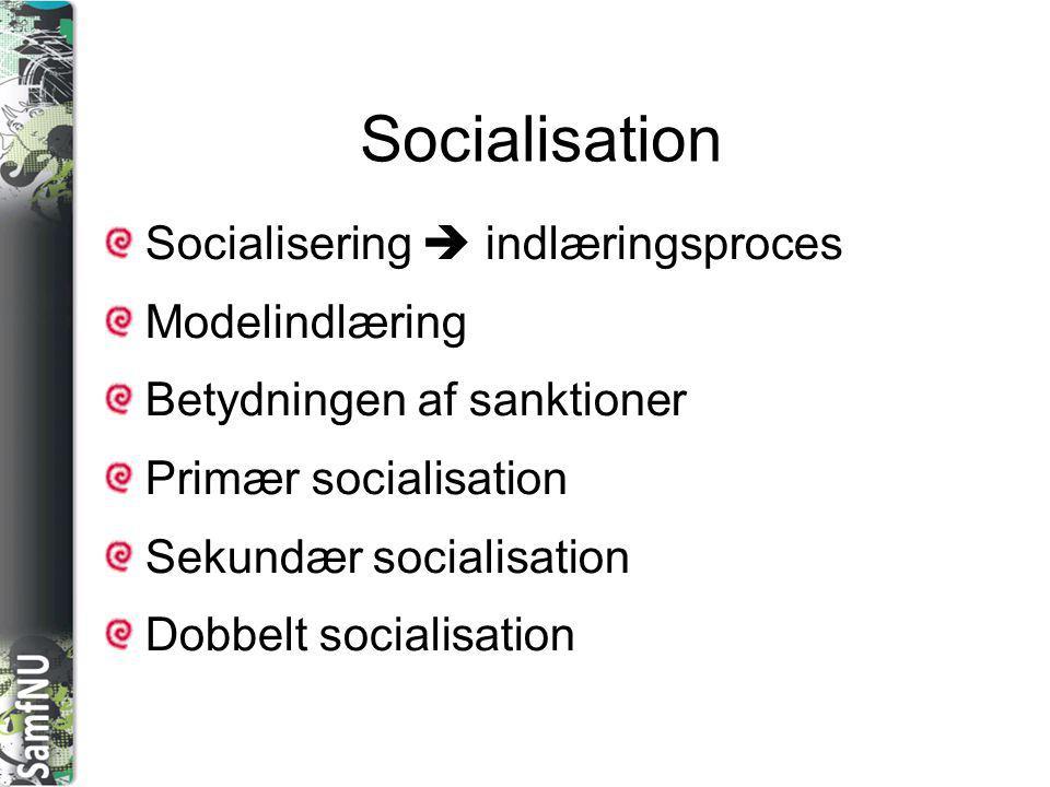 Socialisation Socialisering  indlæringsproces Modelindlæring