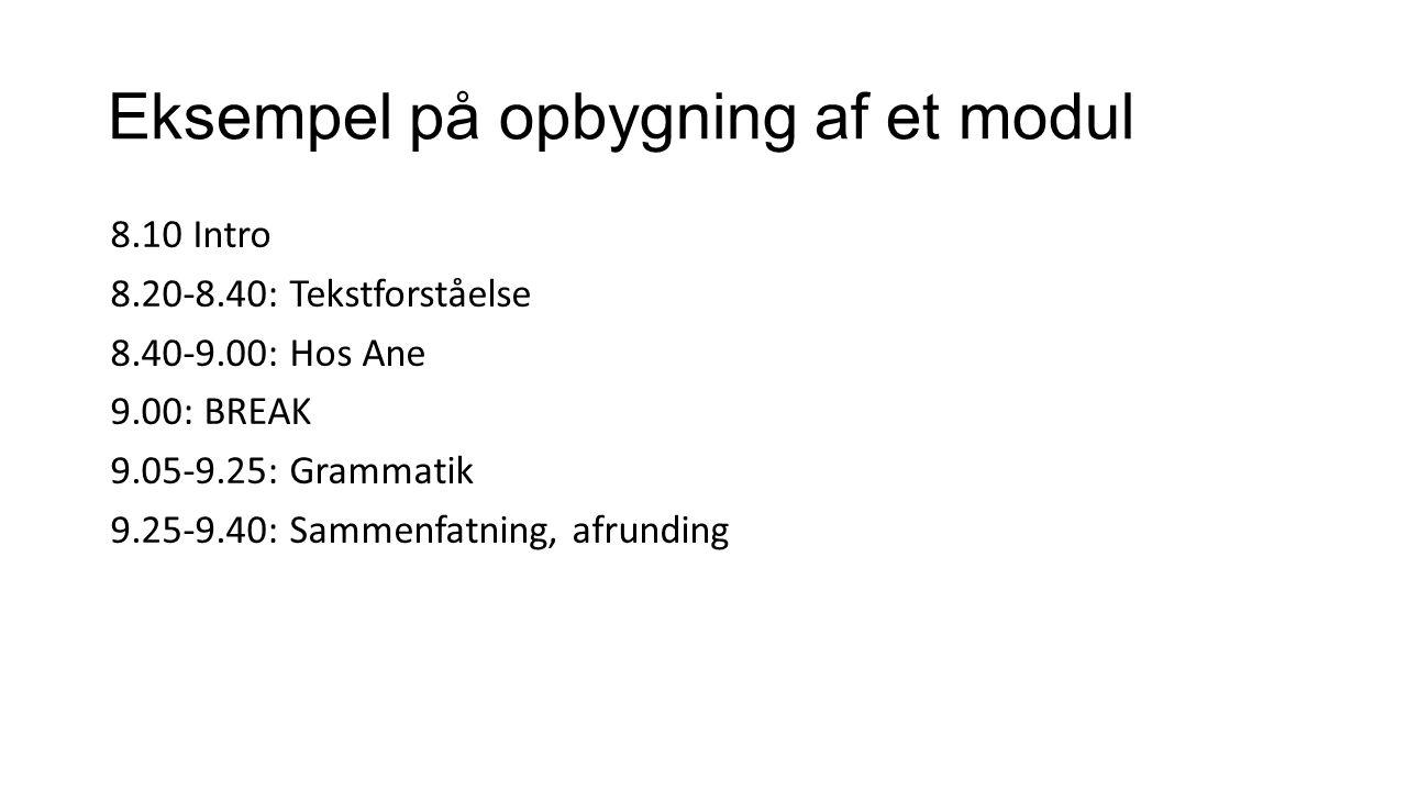 Eksempel på opbygning af et modul