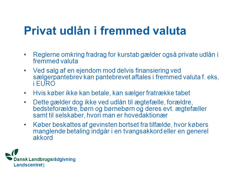 Privat udlån i fremmed valuta
