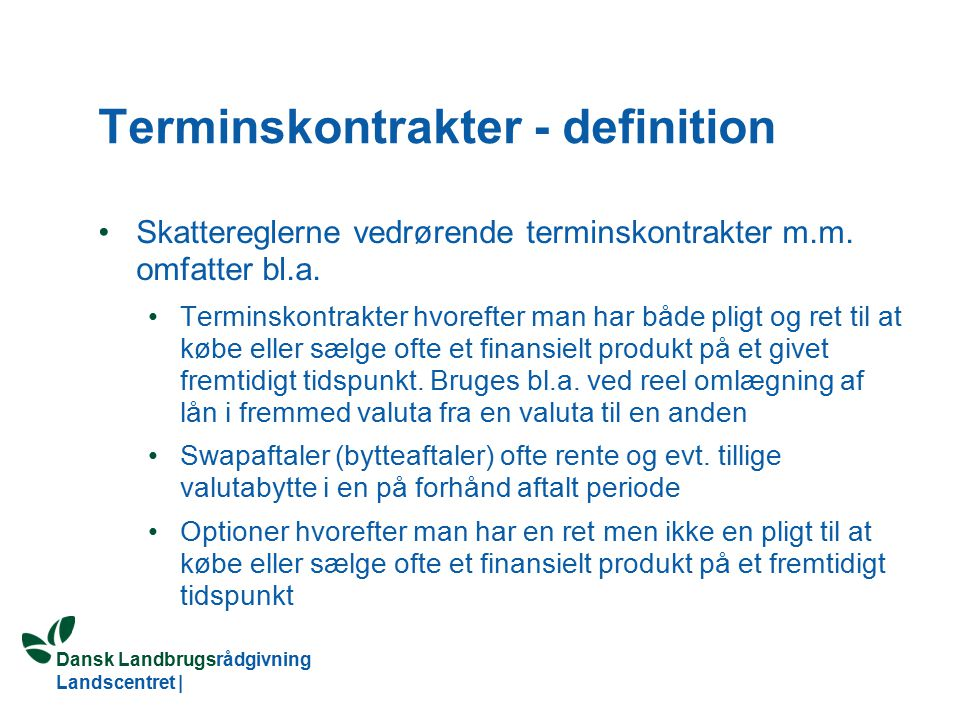 Terminskontrakter - definition