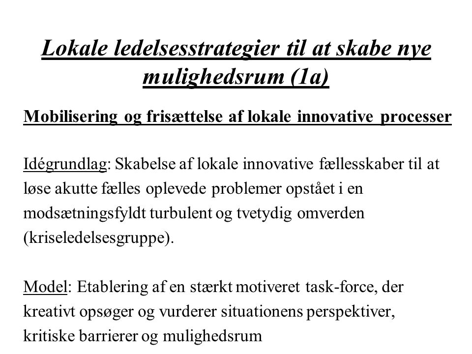 Lokale ledelsesstrategier til at skabe nye mulighedsrum (1a)