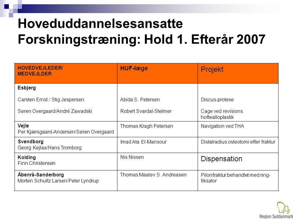 Hoveduddannelsesansatte Forskningstræning: Hold 1. Efterår 2007