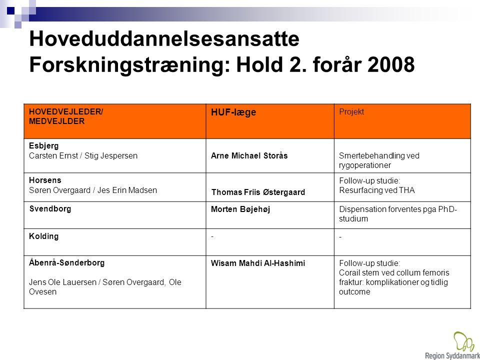 Hoveduddannelsesansatte Forskningstræning: Hold 2. forår 2008
