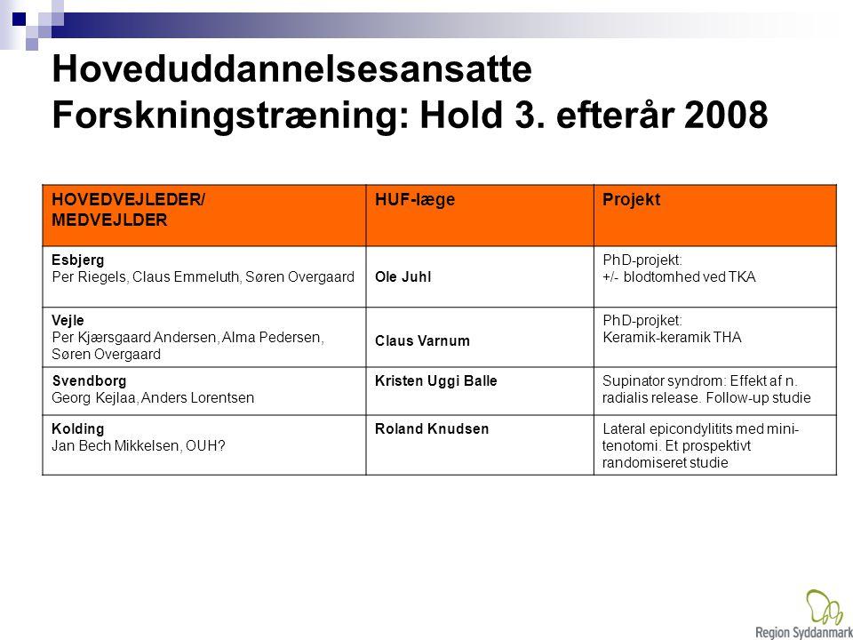 Hoveduddannelsesansatte Forskningstræning: Hold 3. efterår 2008