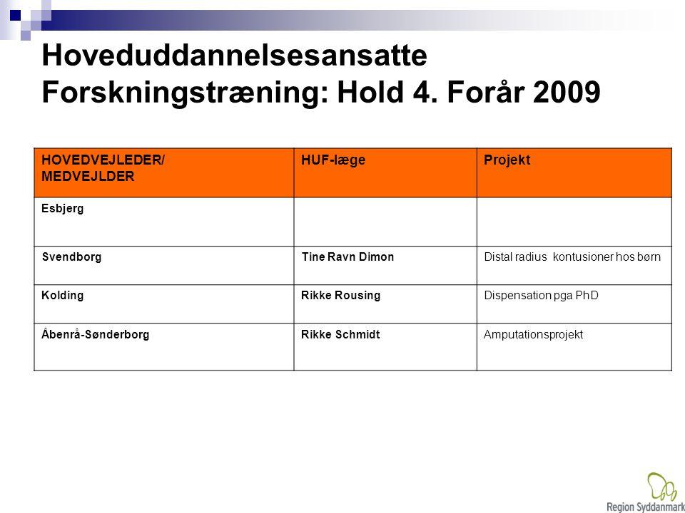 Hoveduddannelsesansatte Forskningstræning: Hold 4. Forår 2009