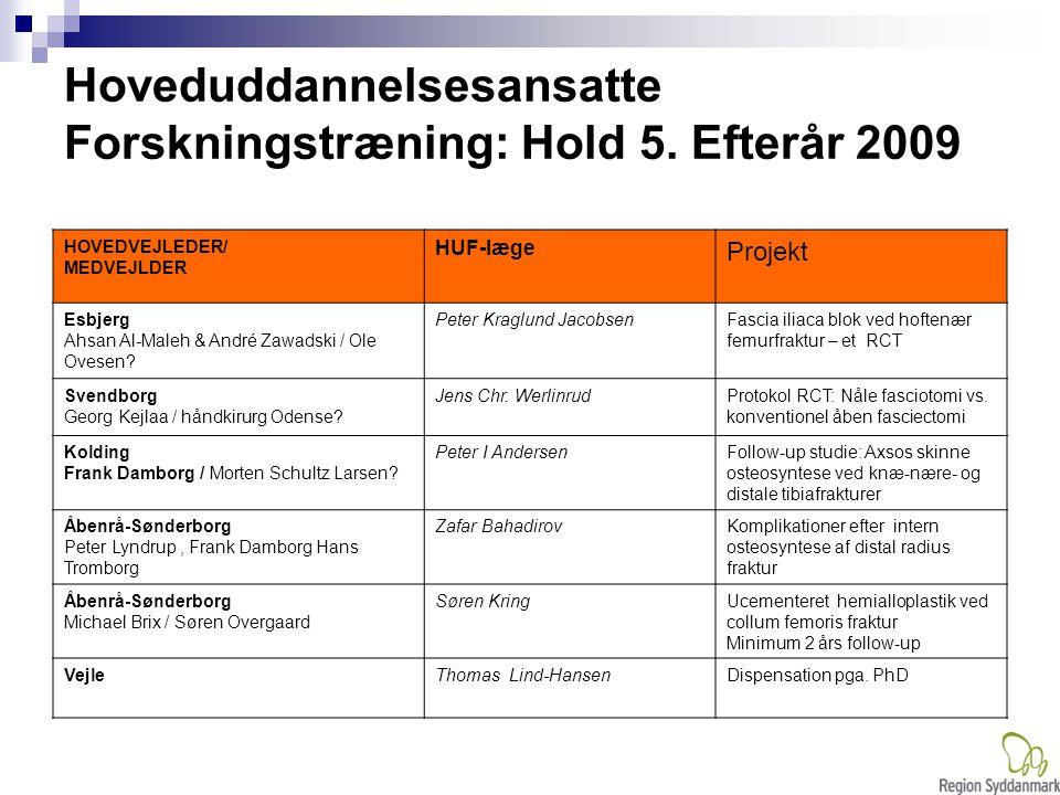 Hoveduddannelsesansatte Forskningstræning: Hold 5. Efterår 2009